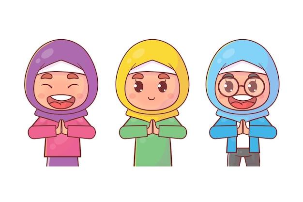 Caráter muçulmano definido com pose de saudação Vetor Premium