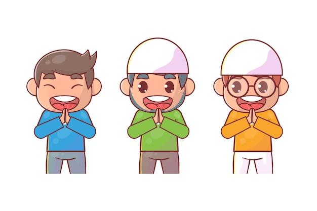Caráter muçulmano definido com pose de saudação