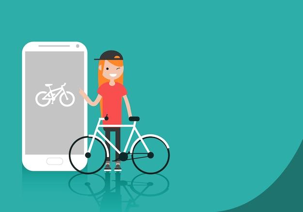 Caráter novo com a bicicleta que está perto do smartphone.