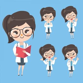 Caráter os médicos femininos mostram uma variedade de gestos, palavras e emoções.