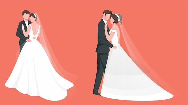 Caráter sem rosto de casal de noivos em duas opções.