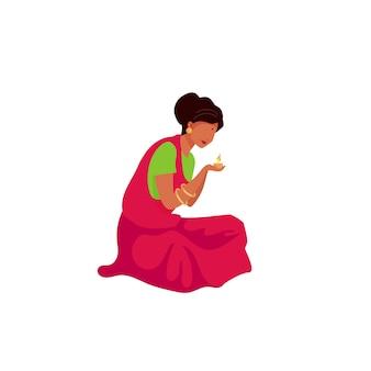 Caráter sem rosto de mulher indiana luz vela cor plana