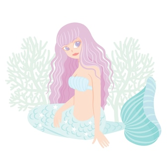Caráter sereia com coral