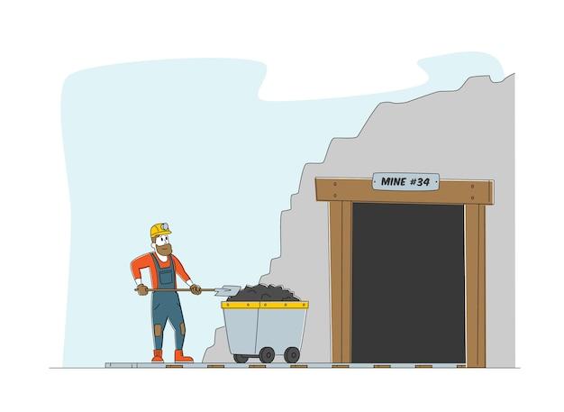 Caráter trabalhador em uniforme e suporte de capacete na entrada da mina de carvão