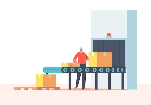 Caráter trabalhador embalagem de carga na correia transportadora com caixas de papelão. fábrica, planta, armazém com linha de produção automatizada. pacotes, mercadorias, produtos em embalagens cartonadas. ilustração em vetor de desenho animado