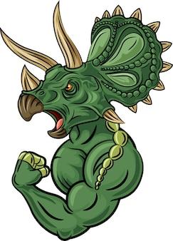 Caráter triceratops forte isolado no fundo branco