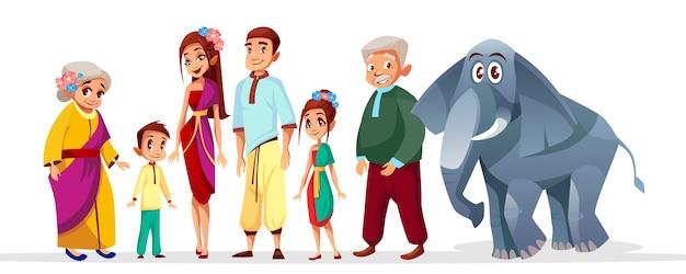 Caráteres asiáticos da família tailandesa ajustados. feliz, tailandia, sião, mulher sênior, homem, perto, elefante