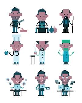 Caráteres das profissões. elementos de design planos. ilustração vetorial