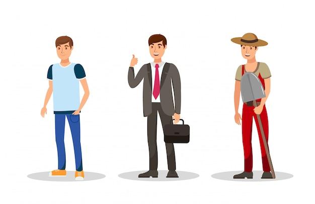 Caráteres de cor de vetor plana de homens jovens caracteres definido