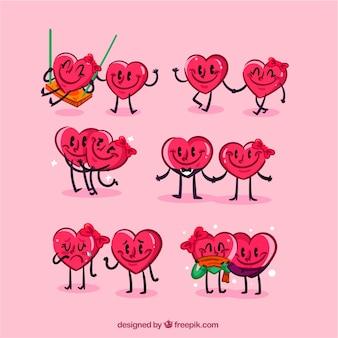 Caráteres desenhados mão de coleta de corações