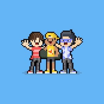 Caráteres do menino dos desenhos animados do dia do freindship da arte do pixel