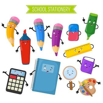 Caráteres do vetor dos desenhos animados 3d da escola que escreve artigos de papelaria