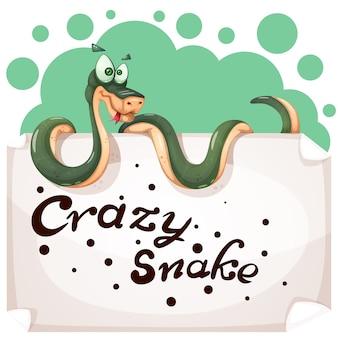 Caráteres engraçados, bonitos, loucos da serpente