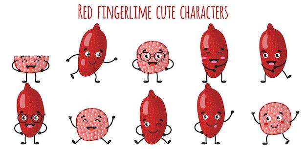 Caráteres engraçados e alegres de limo vermelho com diferentes poses e emoções