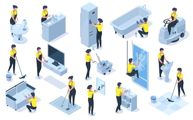 Caráteres profissionais isométricos de equipe de limpeza de casa. detergentes, equipamento de limpeza, aspiração, limpeza de ilustração vetorial de móveis. trabalhadores de limpeza no trabalho profissional, limpeza de manutenção de equipe