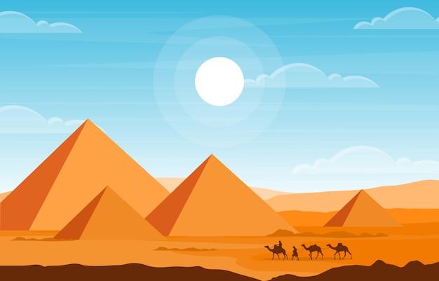 Caravana camelo cruzando egito pirâmide deserto ilustração paisagem árabe