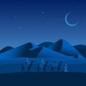 Caravana de camelos passando o deserto