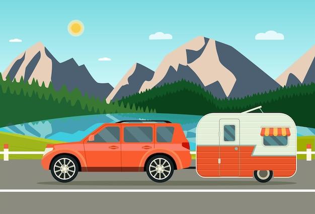 Caravana de carros e reboques paisagem com montanhas de floresta e laker. ilustração em vetor estilo simples