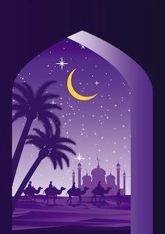 Caravana muçulmana montar camelo a mesquita