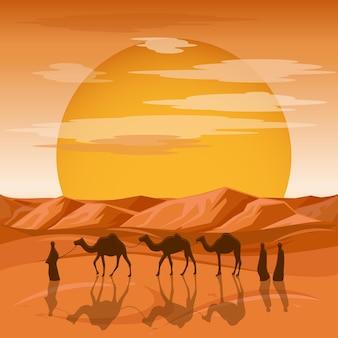 Caravana no fundo do deserto. pessoas árabes e silhuetas de camelos nas areias. caravana com camelo, a silhueta de um desfile de camelos viaja para a ilustração do deserto de areia