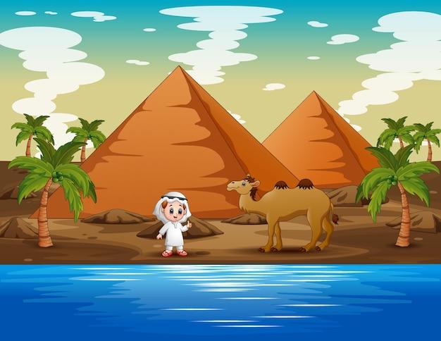 Caravana pastoreando camelos no deserto