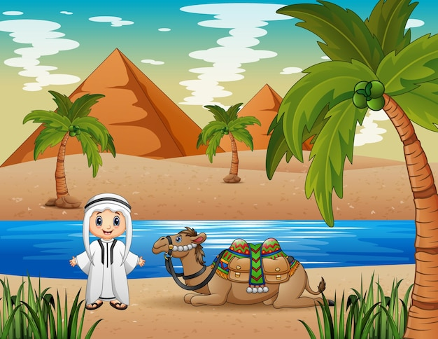 Caravana pastoreando camelos no deserto Vetor Premium