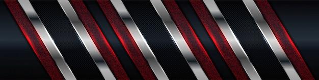 Carbono preto escuro abstrato com prata moderna e design de fundo de decoração de elemento de brilho vermelho
