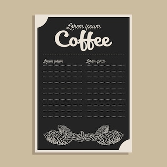 Cardápio de café preto com tema de folhas e grãos