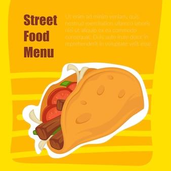 Cardápio de comida de rua, taco com carne e tortilla
