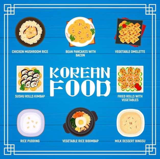 Cardápio de cozinha coreana, frango, cogumelo, arroz, panqueca de feijão com bacon e omelete