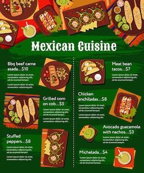Cardápio de cozinha mexicana