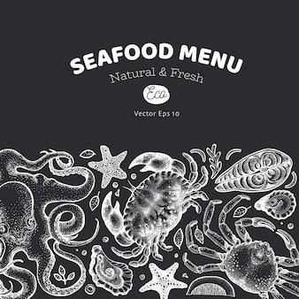 Cardápio de frutos do mar e peixes