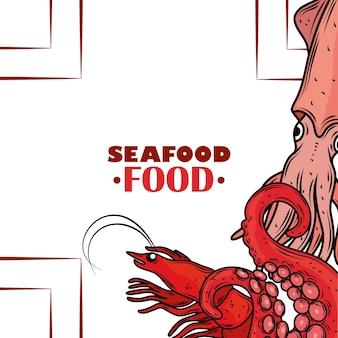 Cardápio de frutos do mar gourmet com pôster de polvo de lula fresca e camarão