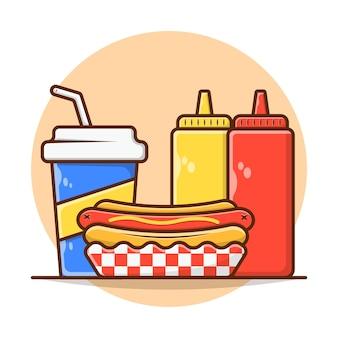 Cardápio de refeição cachorro-quente com refrigerante e mostarda