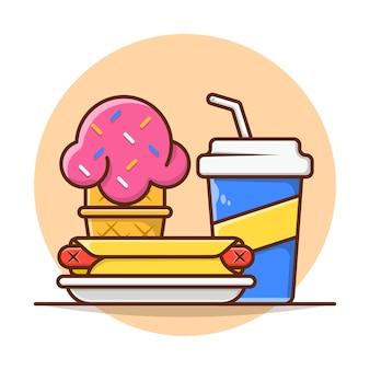 Cardápio de refeições cachorro-quente com sorvete de refrigerante