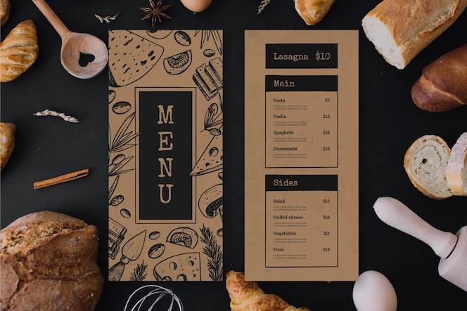 Cardápio de restaurante com gêneros alimentícios