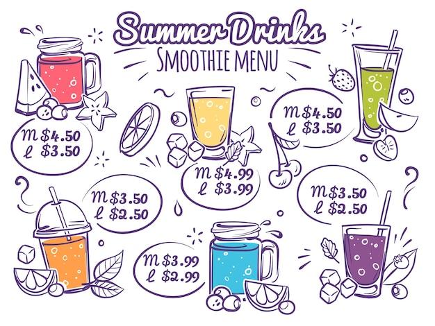 Cardápio de smoothies sucos de frutas e coquetéis orgânicos coloridos com frutas vermelhas