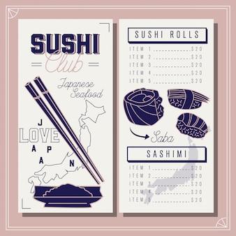 Cardápio do restaurante. modelo de clube de sushi. marisco japonês.