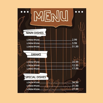 Cardápio do restaurante. molduras e elementos gráficos. arquivo de ilustração vetorial editável.