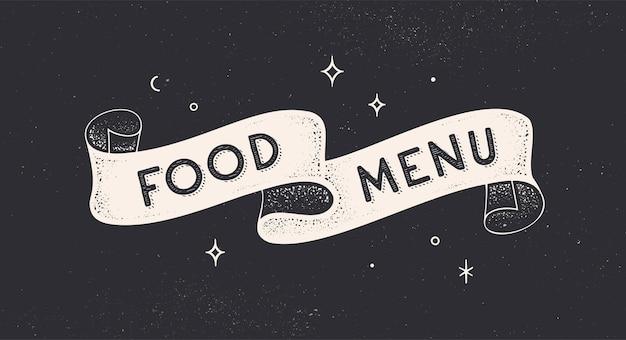 Cardápio. fita vintage com texto menu de comida.