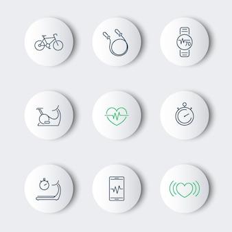 Cardio, treinamento cardíaco, fitness, linha de saúde em volta de ícones modernos