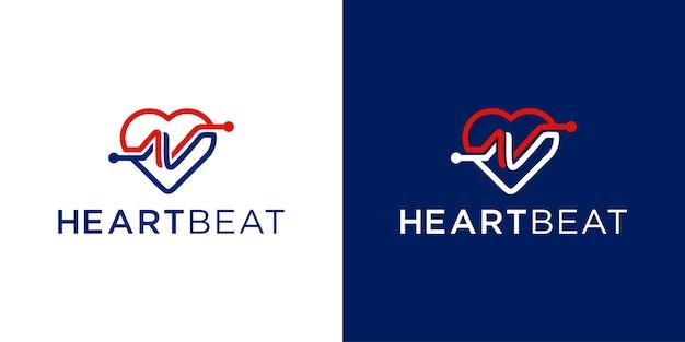 Cardiograma batimento cardíaco com modelo de inspiração de design de logotipo de amor