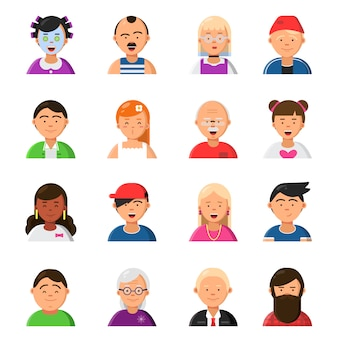 Caretas engraçadas. avatares em estilo flat