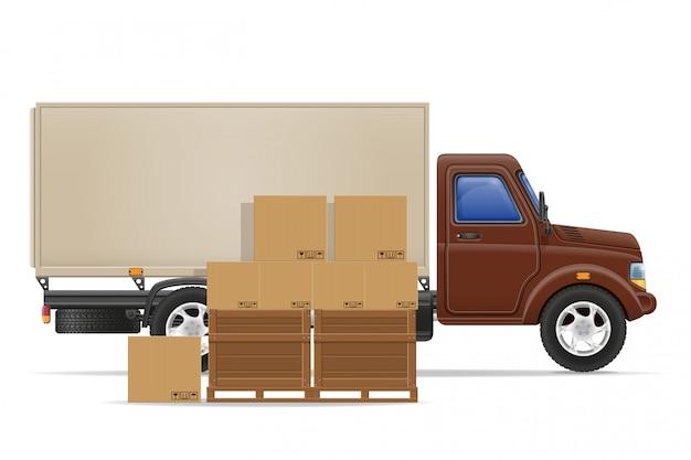 Carga caminhão entrega e transporte mercadorias conceito ilustração em vetor