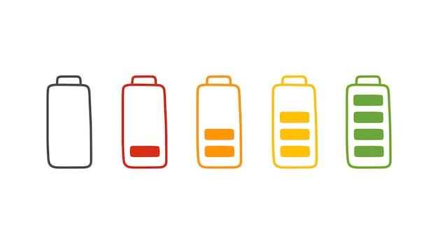Carga da bateria em estilo cartoon. desenhado à mão definir nível de energia baixo e cheio
