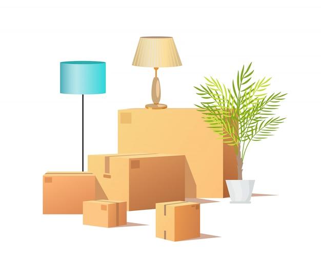Carga de caixa de papelão, entrega de pacotes