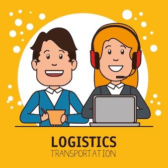 Carga de entrega infográfica do gestor logístico