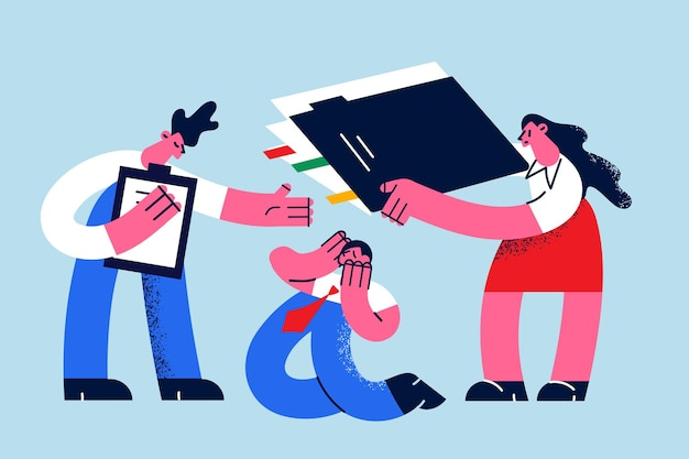 Carga de trabalho, colegas, opinião, conceito de estresse
