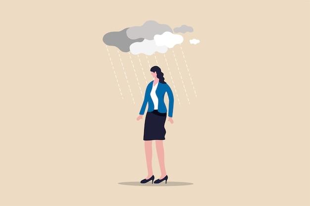 Carga de trabalho e estresse causando depressão na doença mental de trabalhador de escritório