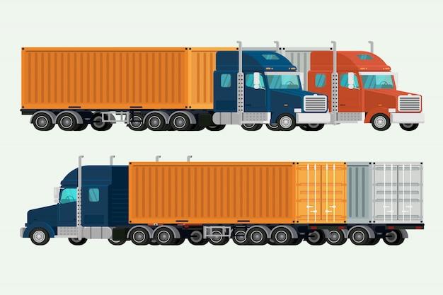 Carga de transporte da entrega do recipiente dos caminhões americanos. ilustração vector